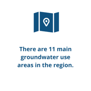 There are 11 main groundwater use areas in the region.