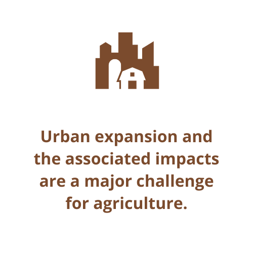Urban expansion and the associated impacts are a major challenge for agriculture.