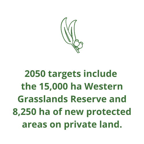 2050 targets include  the 15,000 ha Western Grasslands Reserve and 8,250 ha of new protected areas on private land.