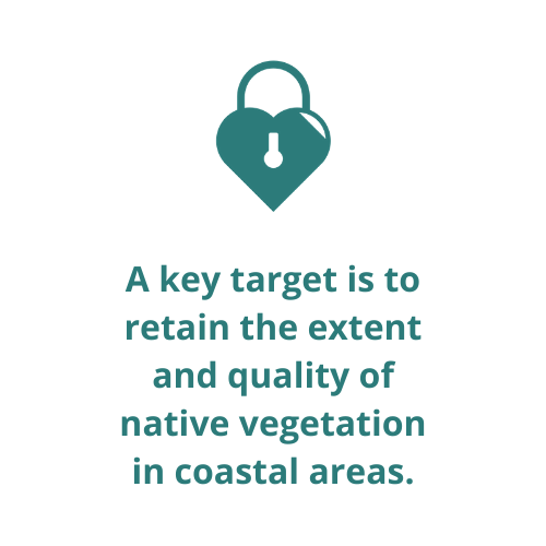 A key target is to retain the extent and quality of native vegetation in coastal areas.