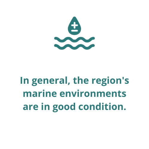 In general, the region's marine environments are in good condition.