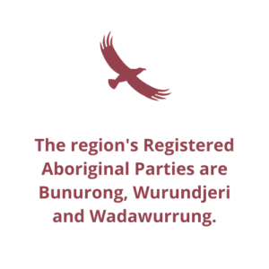 The region's Registered Aboriginal Parties are Bunurong, Wurundjeri and Wadawurrung.