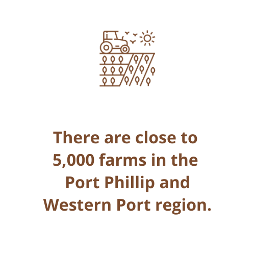 There are close to  5,000 farms in the  Port Phillip and Western Port region.