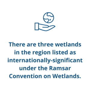 There are three wetlands in the region listed as internationally-significant under the Ramsar Convention on Wetlands.