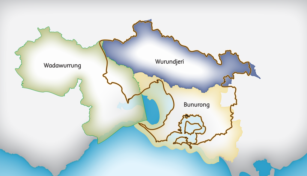 Map showing the Registered Aboriginal Parties in the Port Phillip and Western Port region. Wadawurrung to the west, Wurundjeri across the north and Bunurong along the south and east.