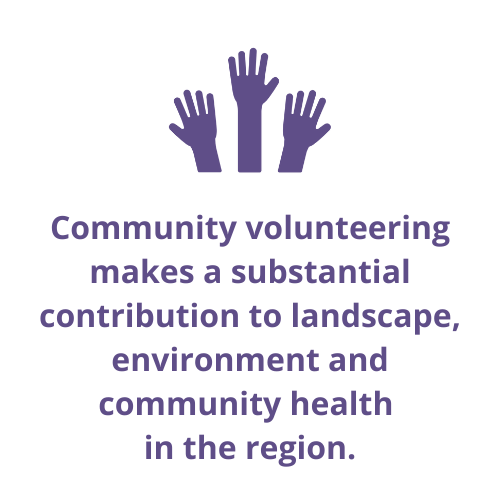 Community volunteering makes a substantial contribution to landscape, environment and community health in the region.
