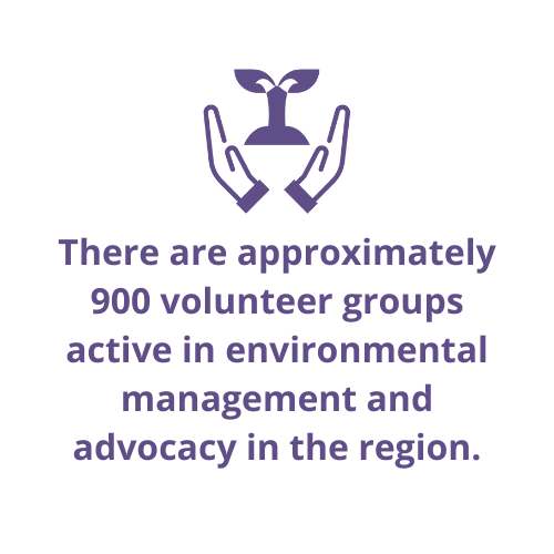 There are approximately 900 volunteer groups active in environmental management and advocacy in the region.