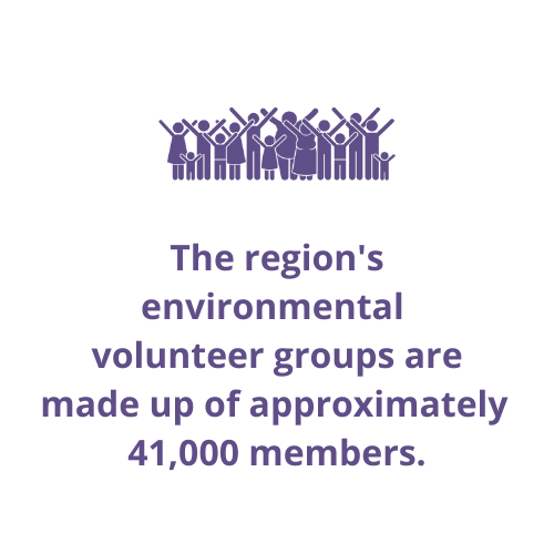 The region's environmental volunteer groups are made up of approximately 41,000 members.